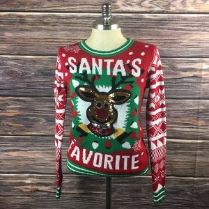 Santa's Favorite Ugly Sequined Christmas Sweater